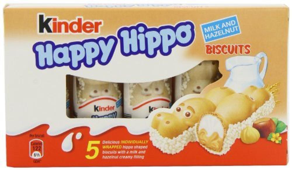 Kinder Happy Hippo Biscuits Milk and Hazelnut 5 x 20.7g Damaged Box