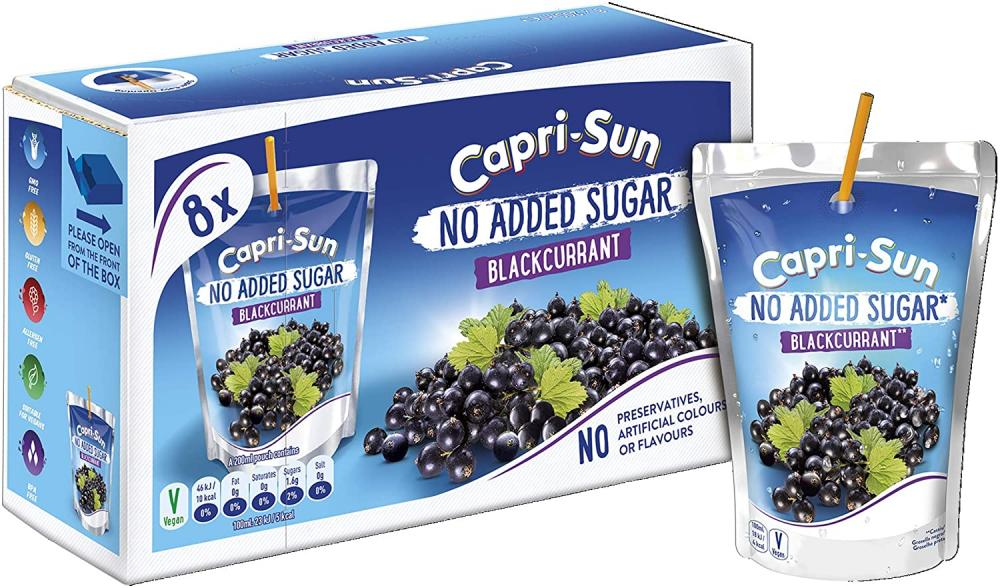 Capri Sun No Added Sugar Blackcurrant 8 x 200ml