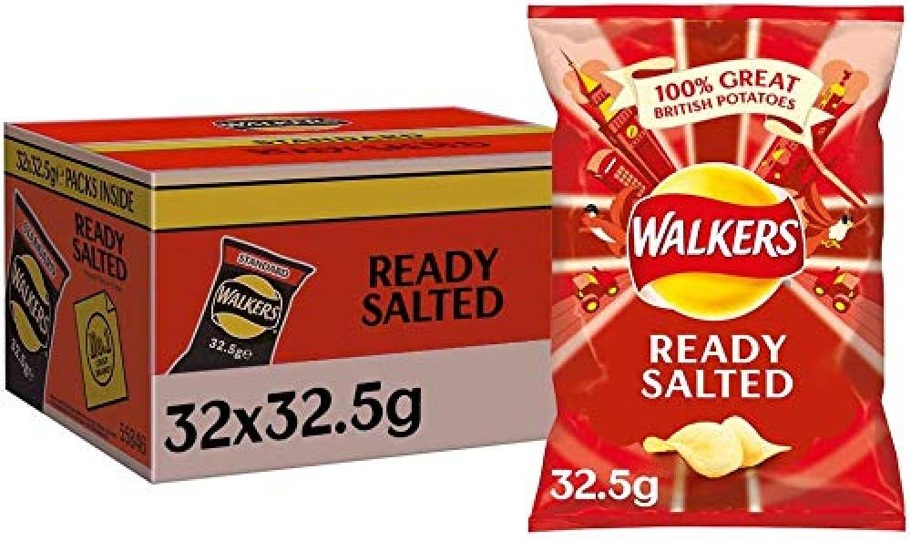 FLASH DEAL CASE PRICE  Walkers Ready Salted Flavour Crisps 32 x 32.5g