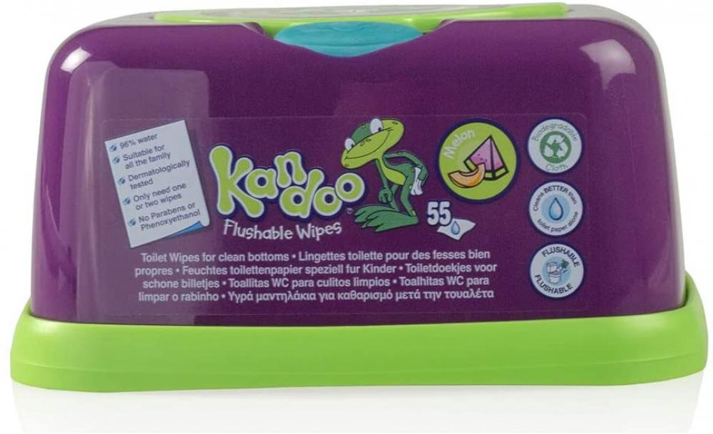 Kandoo Melon Flushable Wipes and Dispenser 55 Wipes