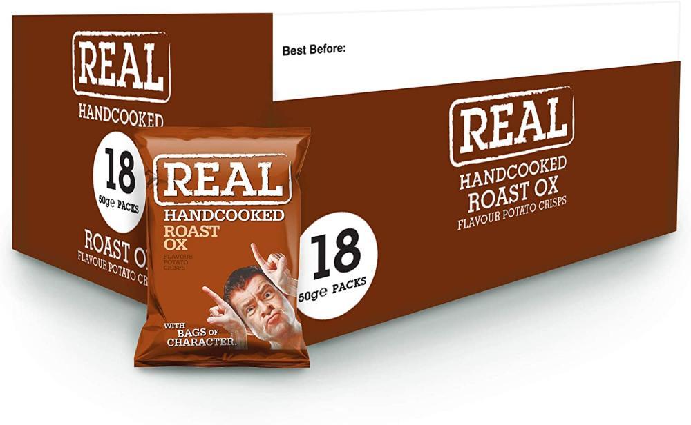 Real Handcooked Roast Ox Flavour Potato Crisps 50g