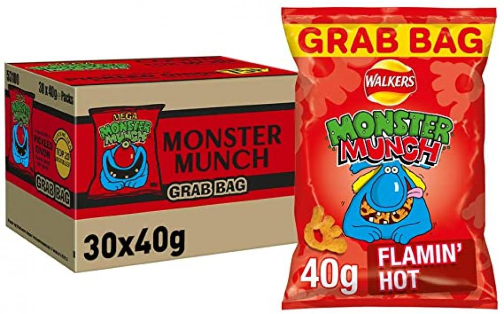 FLASH DEAL CASE PRICE  Walkers Monster Munch Flamin Hot 30 x 40g