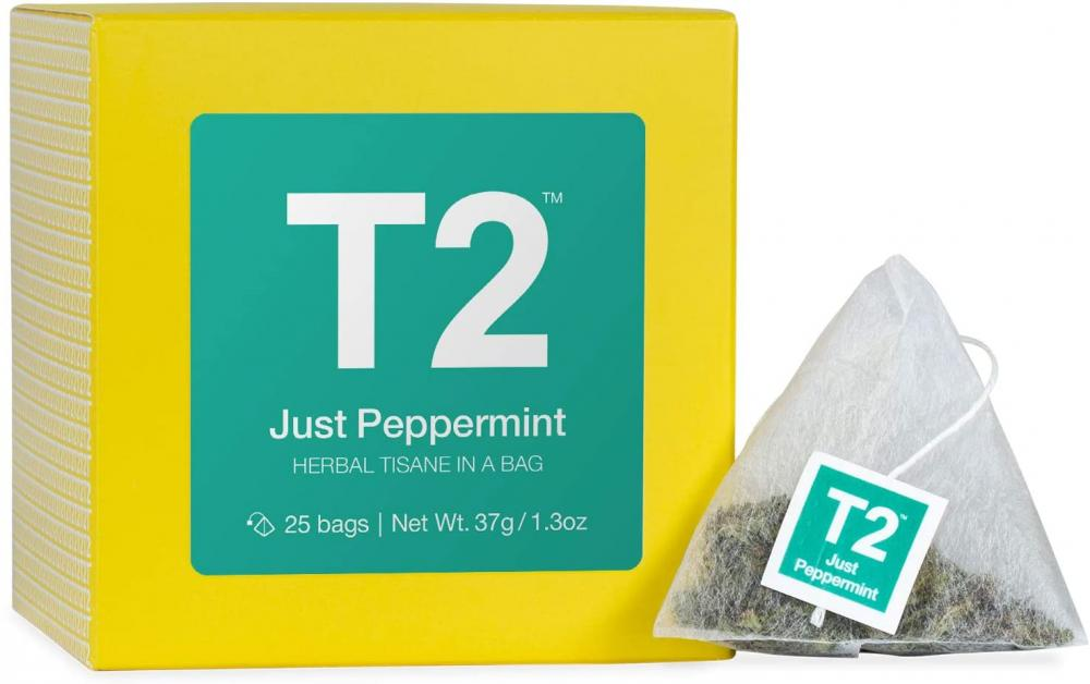 T2 Tea Just Peppermint Herbal Tea Tisane 25 Tea Bags in a Box