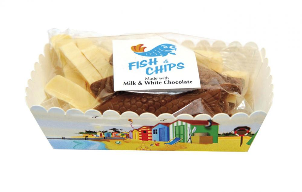 Gywnedd Fish And Chips in Milk White Chocolate 125g