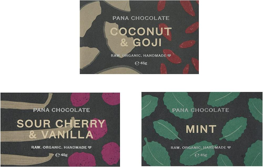 Pana Chocolate Sour Cherry and Vanilla. Coconut and Goji. Mint Bars 45 g LUCKY DIP