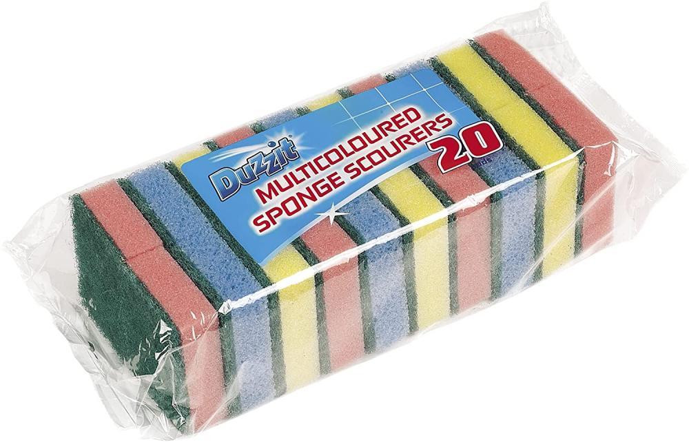 Duzzit Pack of 20 Sponge Scourer Washing Up Sponges Damaged