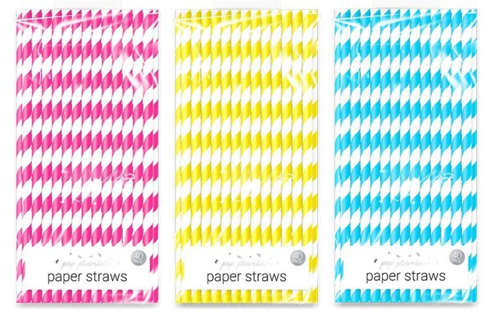 Pop Premium Bright Paper Straws 40 pack