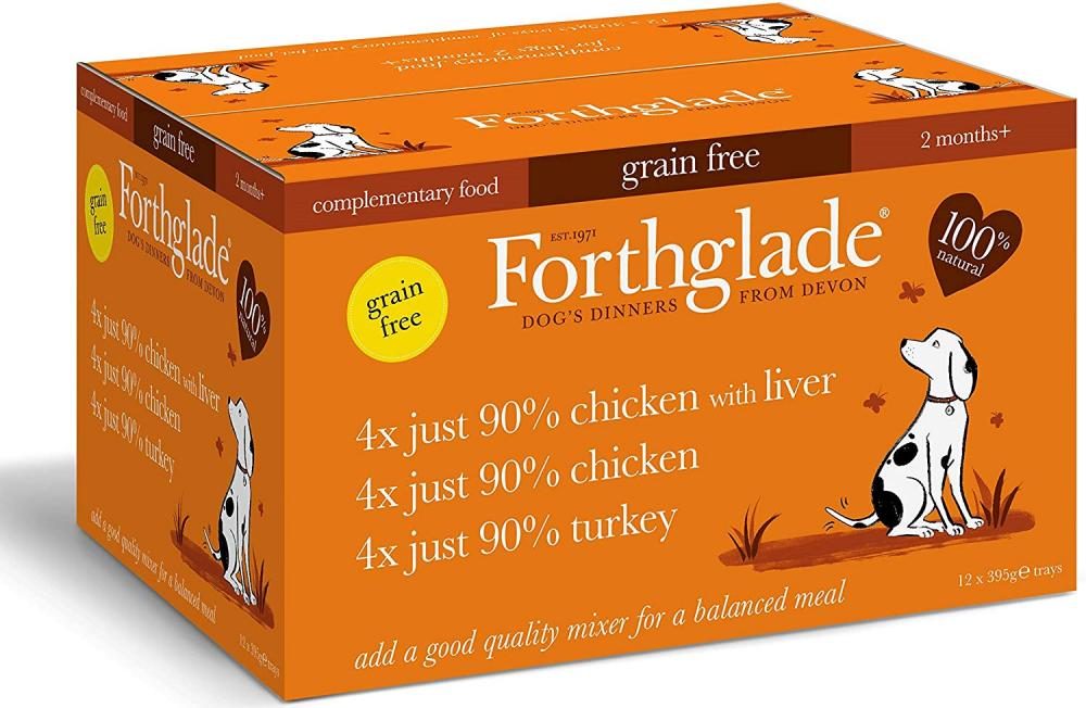 Forthglade 100 Percent Natural Dog Food Grain Free Just 90 Percent Poultry 395g