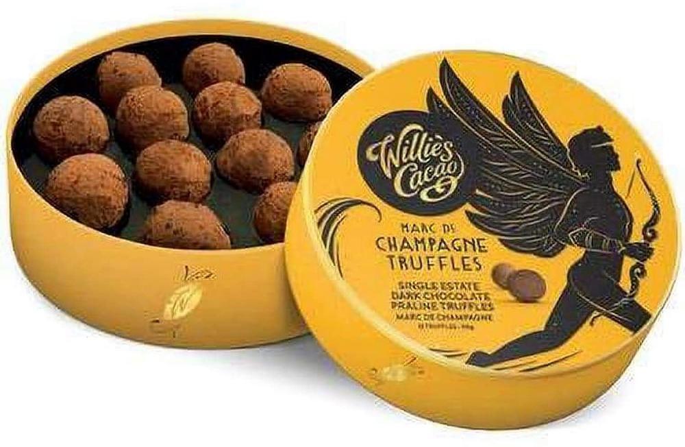 Willies Cacao Dark Chocolate Praline Truffles with Marc de Champagne 35 g