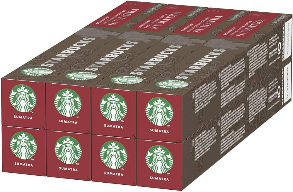 CASE PRICE  Starbucks Sumatra by Nespresso Dark Roast Coffee 8 x 10 Pods