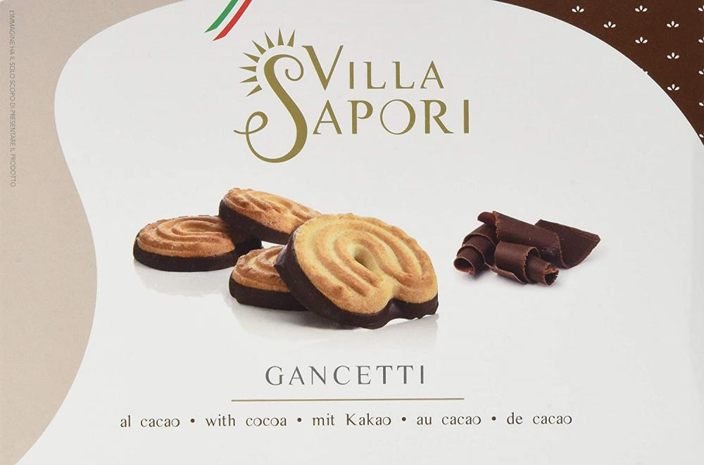 Villa Sapori Traditional Italian Biscuit with butter and cocoa-covered base Gancetti 150 g
