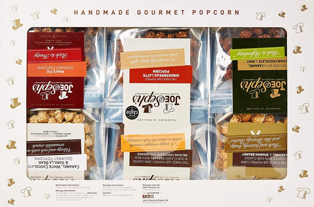 Joe and Sephs Festive Popcorn Tasting Gift Box 12 x 27g-32g