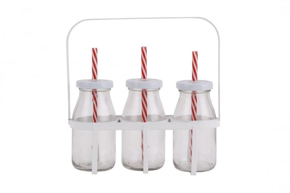 SALE  CGB Vintage Metal Crate with 3 Mini Milk Bottles