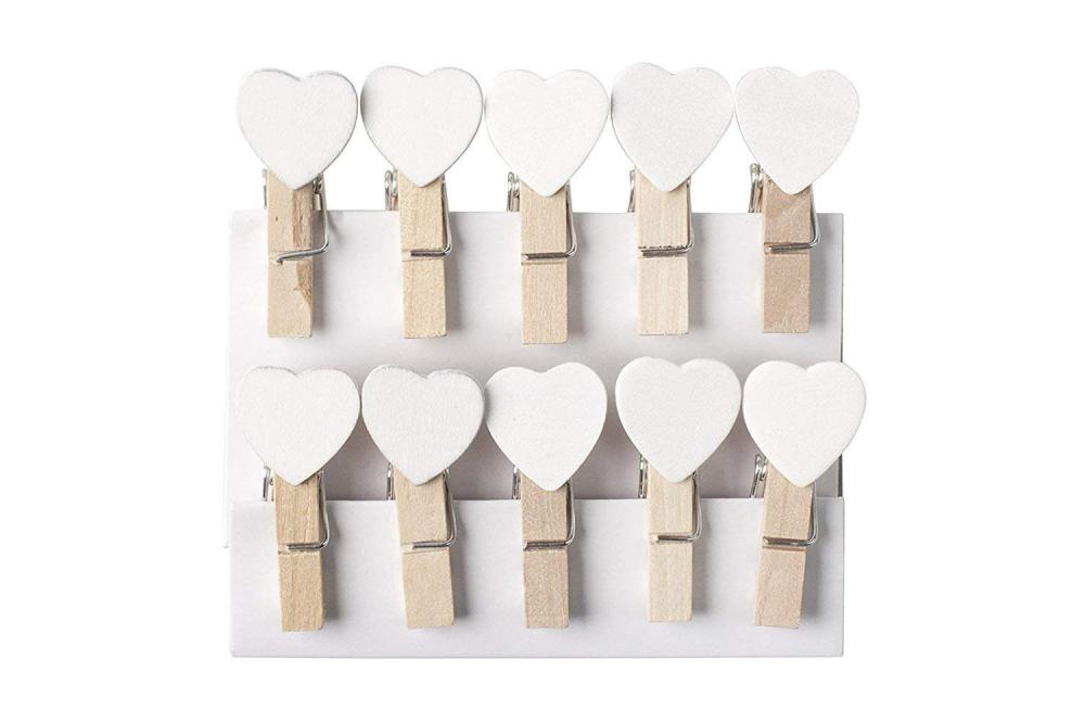 Unbranded 10 Mini Clothes Peg with White Hearts