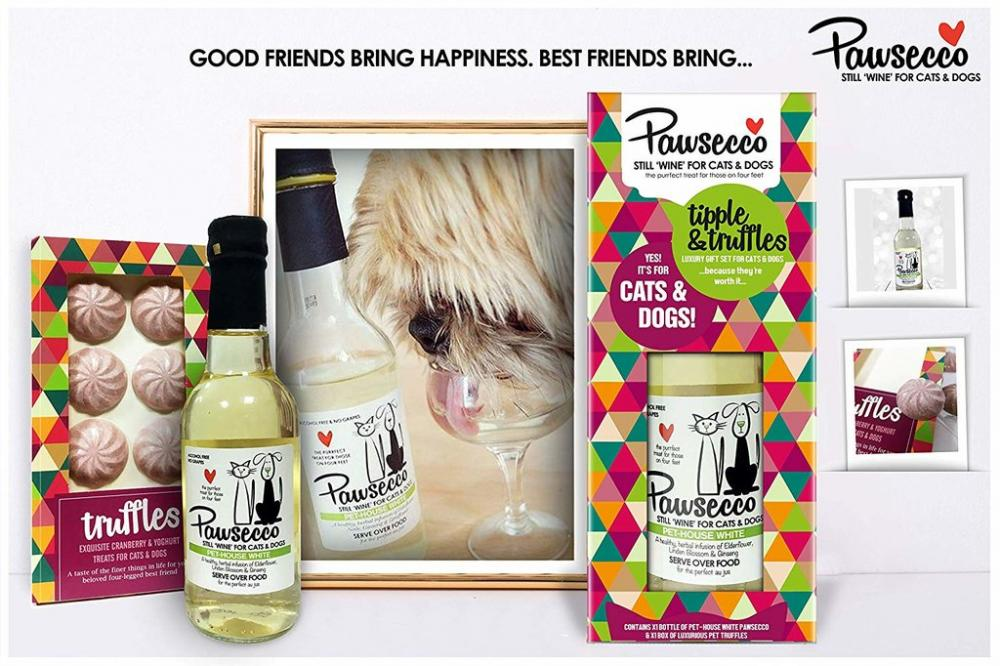WEEKLY DEAL  WOOF and BREW Pawsecco White Wine Luxury Gift Set For CatsDogs