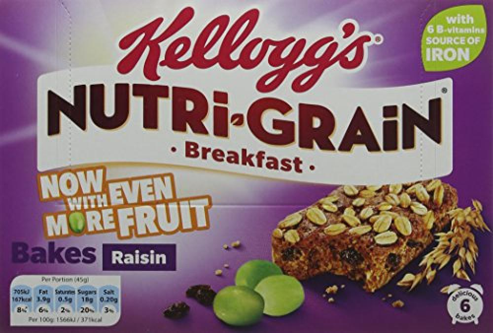 Kelloggs Nutri Grain Breakfast Bakes Raisin 6x45g