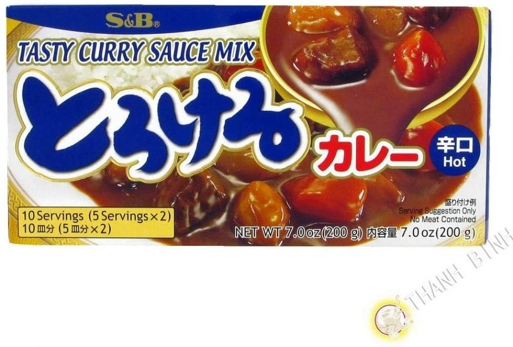 S and B Tasty Curry Sauce Mix Hot 200g