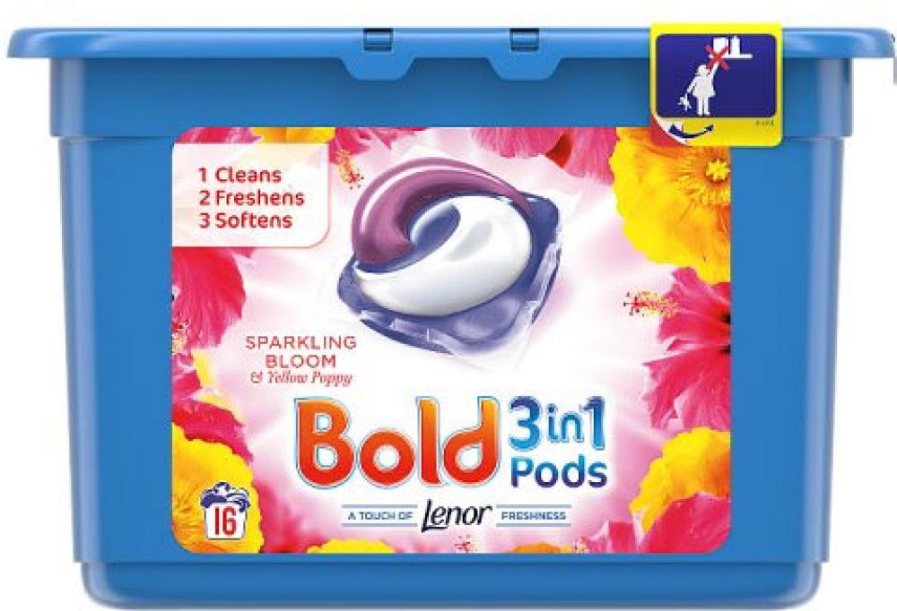 Bold 3 In 1 Pods Sparkling Bloom and Yellow Poppy 16 Washes