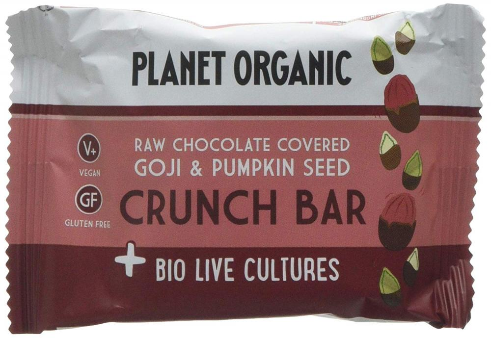 Planet Organic Goji Pumpkin Seed Biolive Choc Crunch Bar 40g
