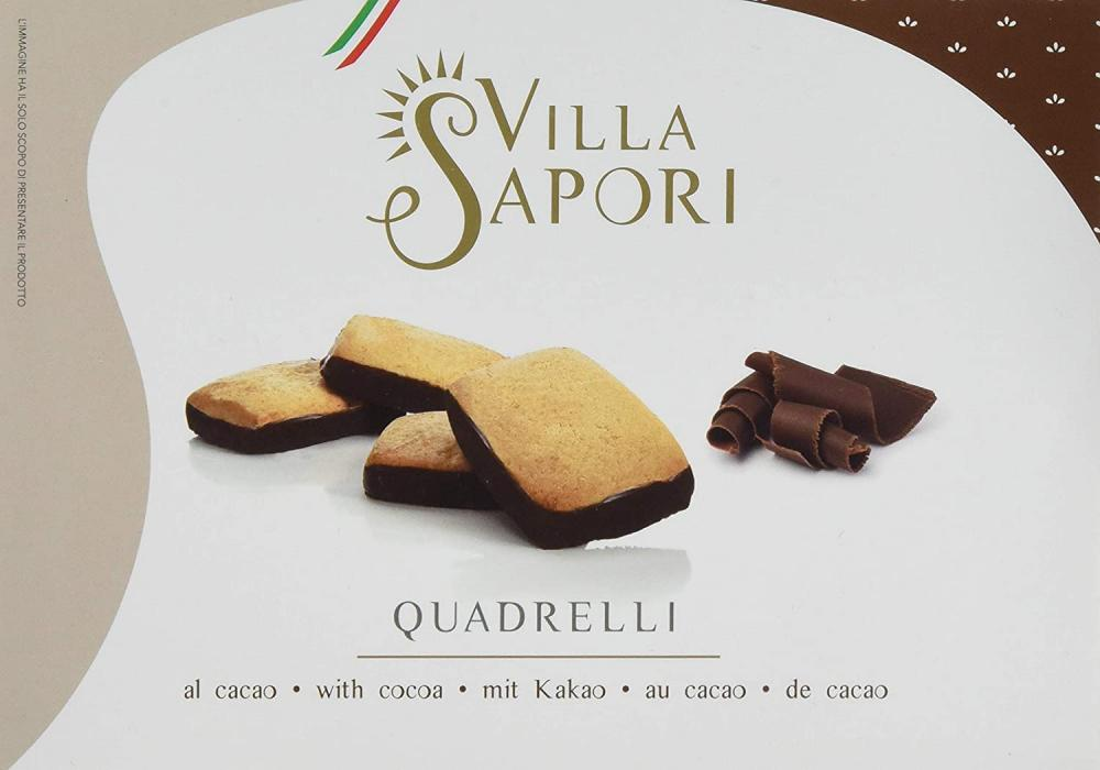Villa Sapori Traditional Italian Biscuit with butter and cocoa-covered base Quadrelli 150 g