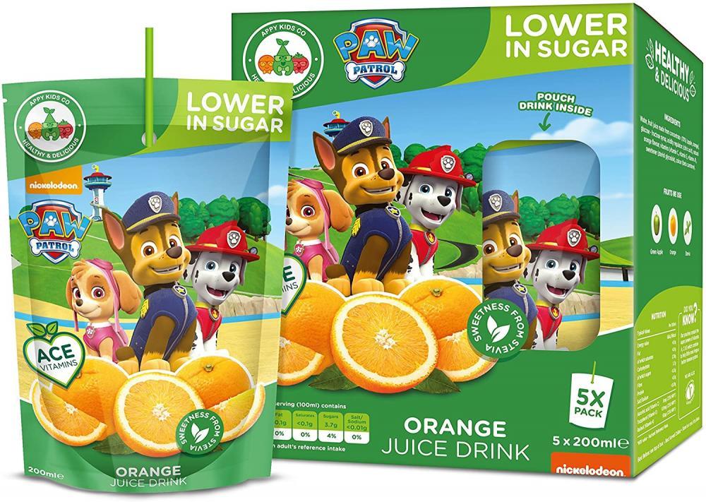 WEEKLY DEAL  Paw Patrol Zero Sugar Orange Drink 4 x 200ml
