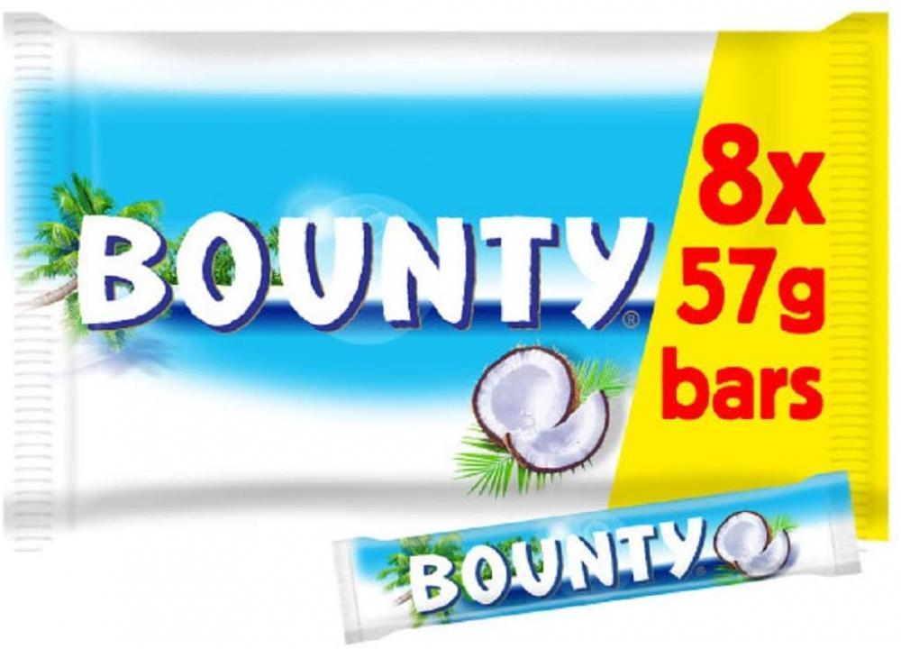 Bounty Coconut Milk Chocolate Bar Multipack 8 x (2 x 28.5g)