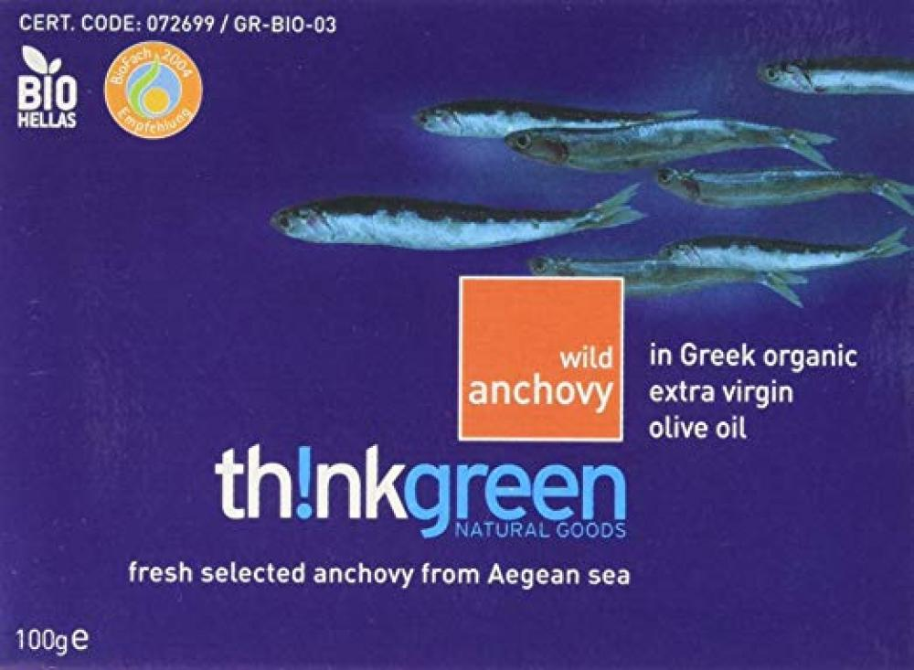ThinkGreen Wild Anchovy From Aegean Sea In Olive Oil 100g