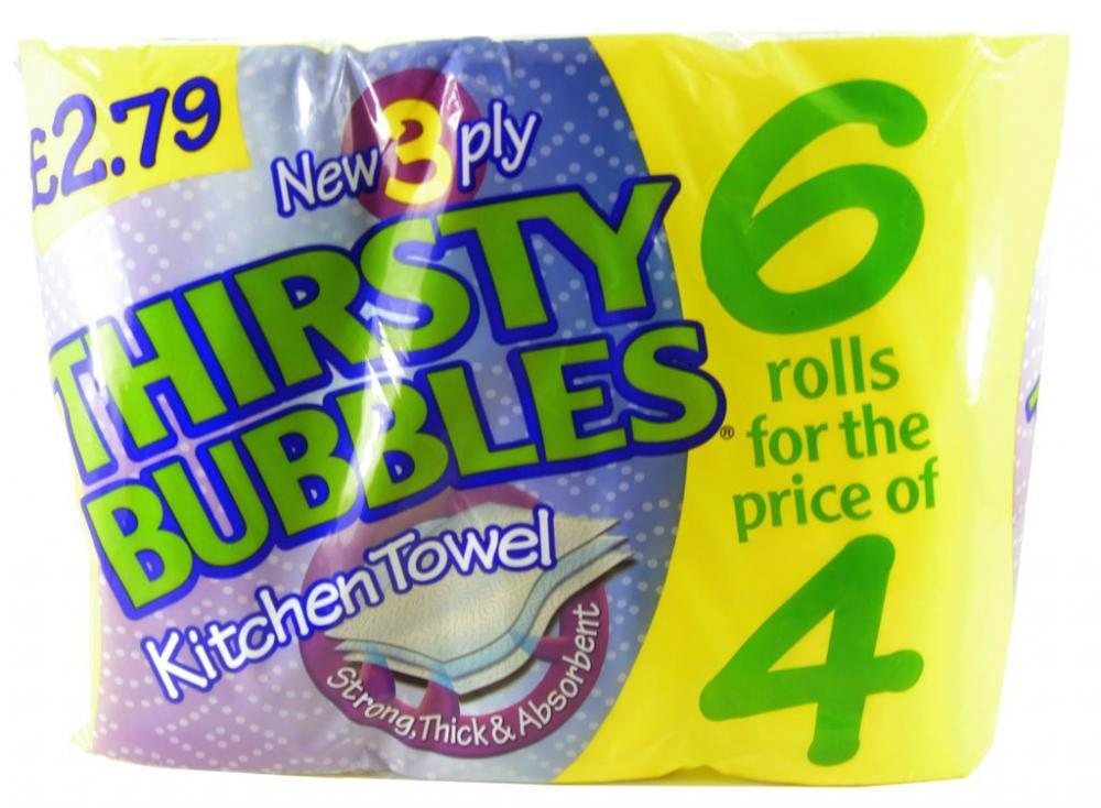 Thirsty Bubbles Kitchen Towel 6 Rolls