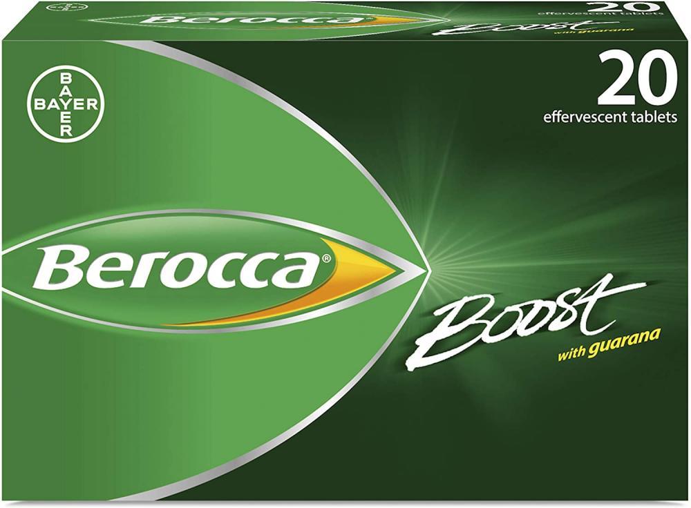 Berocca Boost Effervescent Tablets with Guarana Caffeine and Vitamin B12 20 tablets Damaged Box