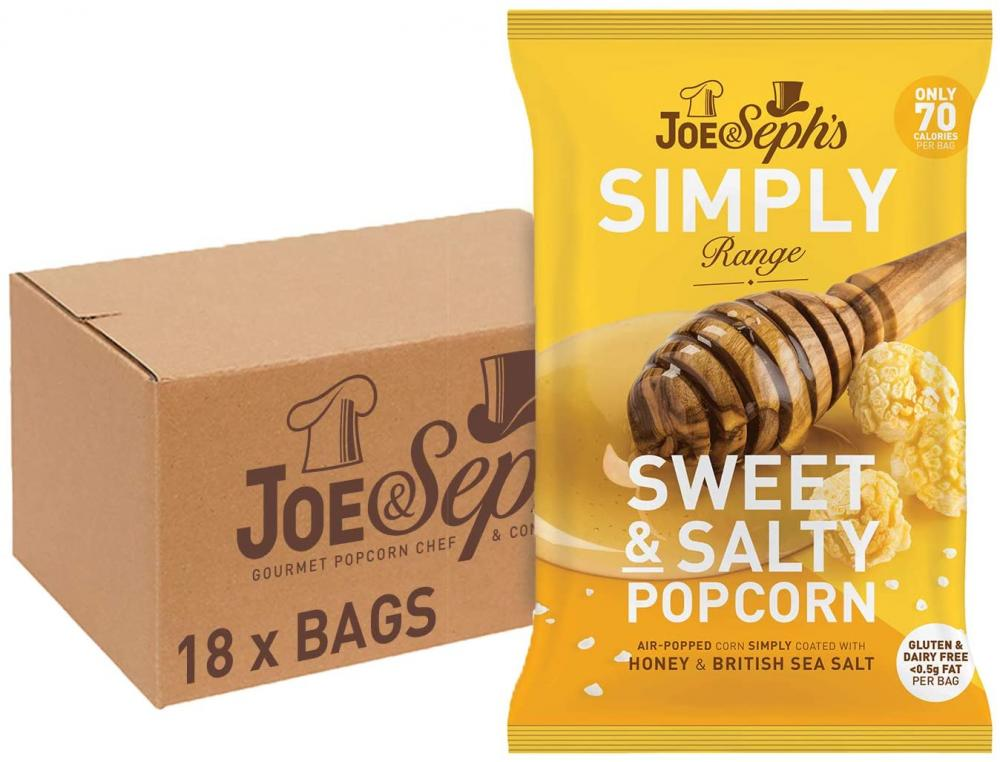 Joe and Sephs SIMPLY Sweet and Salty Popcorn 22g