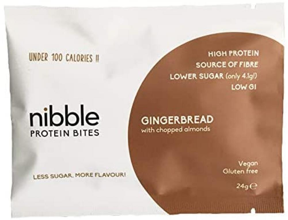 Nibble Protein Bites Gingerbread with Chopped Almonds 24 x 24g packs