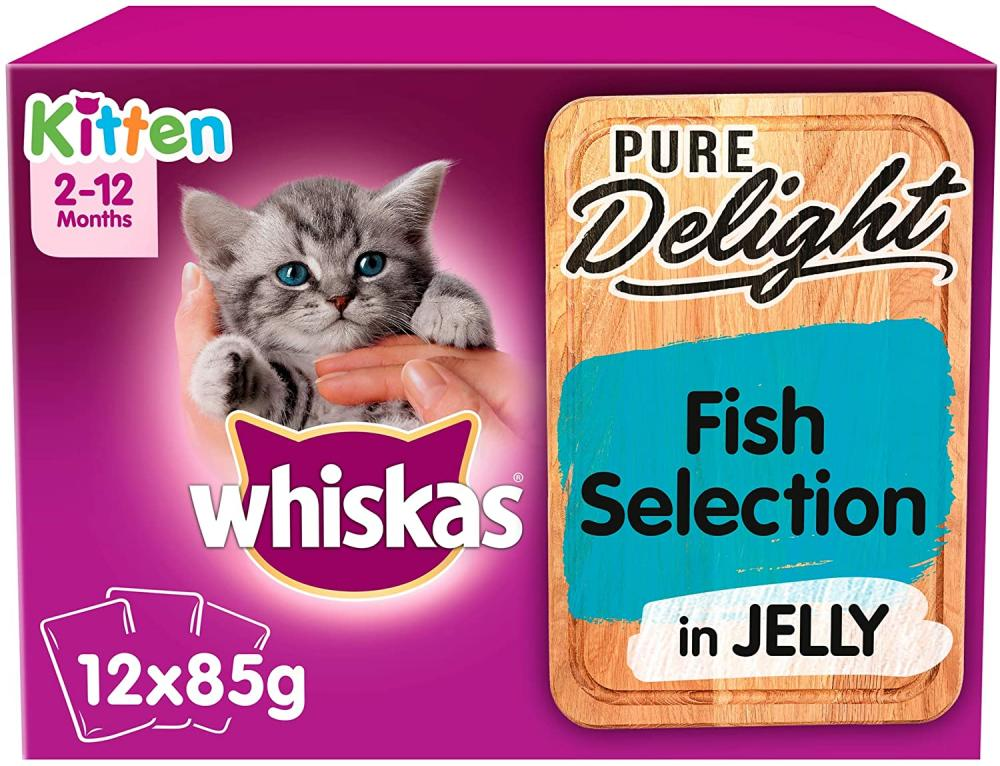 Whiskas Pure Delight Fish Selection in Jelly Kitten 2-12 Months Wet Cat Food 12 x 85 g
