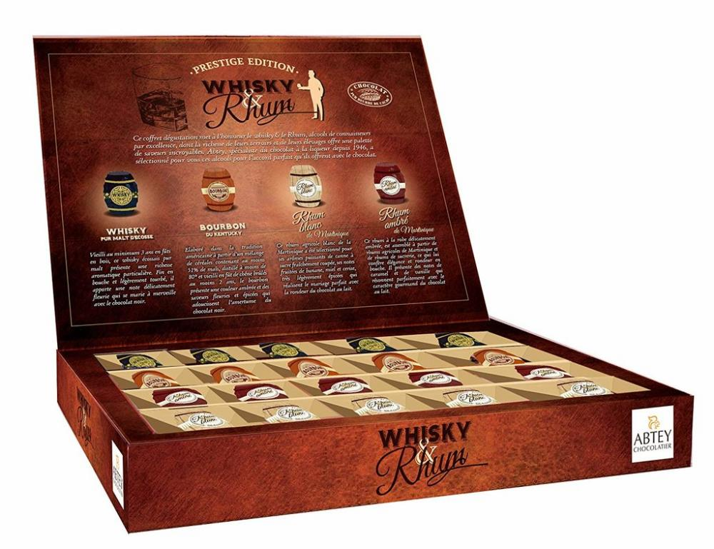 ABTEY CHOCOLATERIE S.A.S Prestige Edition Whiskey and Rum in Dark Chocolate 200g