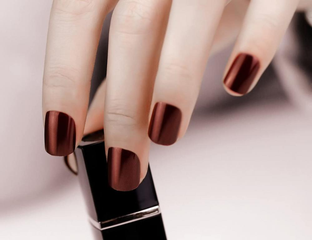ArtPlus Preglued Dark Chocolate Glittering False Nails 24 Pcs