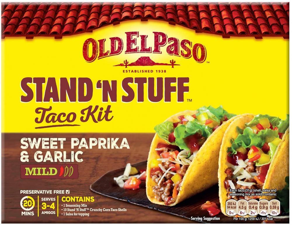 Old El Paso Stand N Stuff Garlic and Paprika Taco Kit 312g