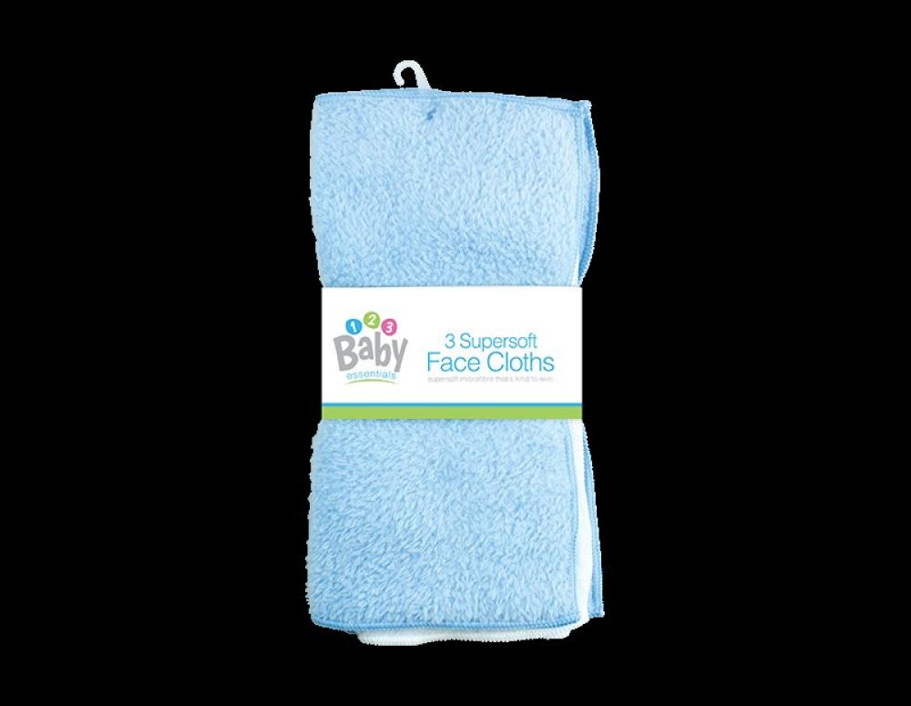 Baby Essentials Baby Face Cloths 3 pack Blue