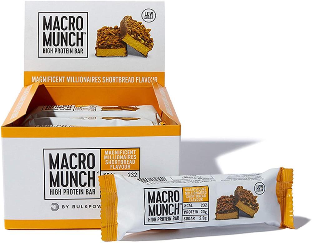 SALE  Bulk Powders Macro Munch Protein Bar Magnificent Millionaires Shortbread 62g
