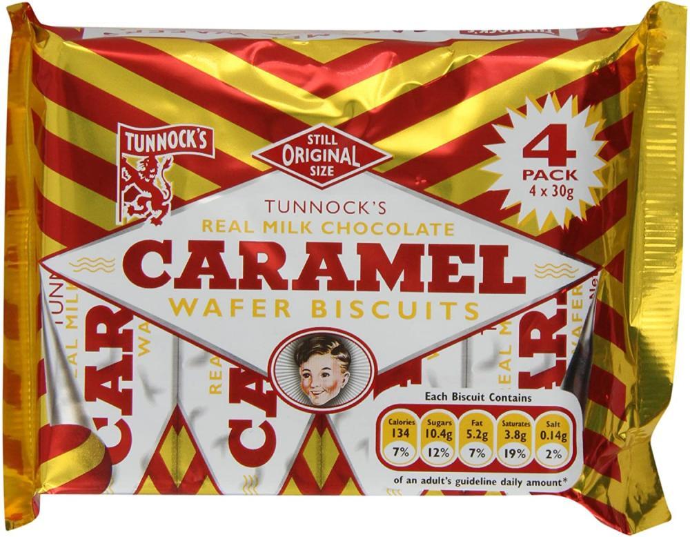Tunnocks Real Milk Chocolate Caramel Wafer Biscuits 4x30g