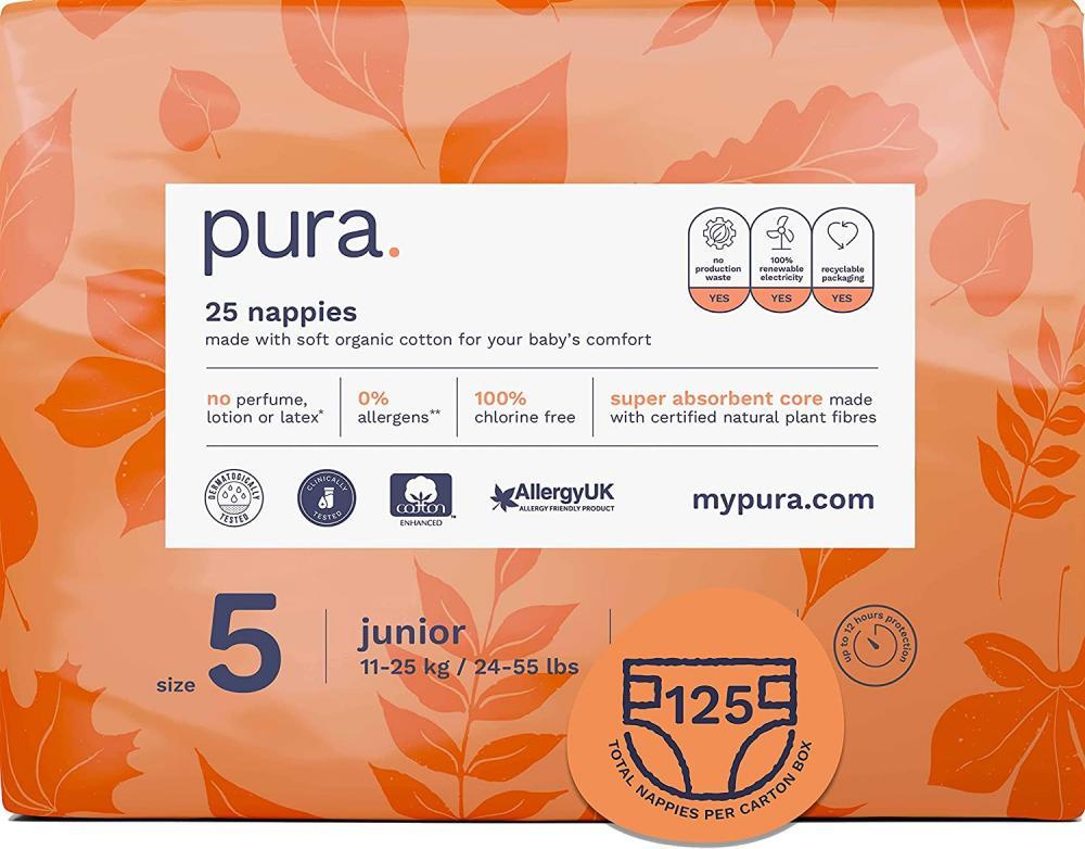 Pura Eco Baby Nappies Size 5 12kg plus 25 nappies