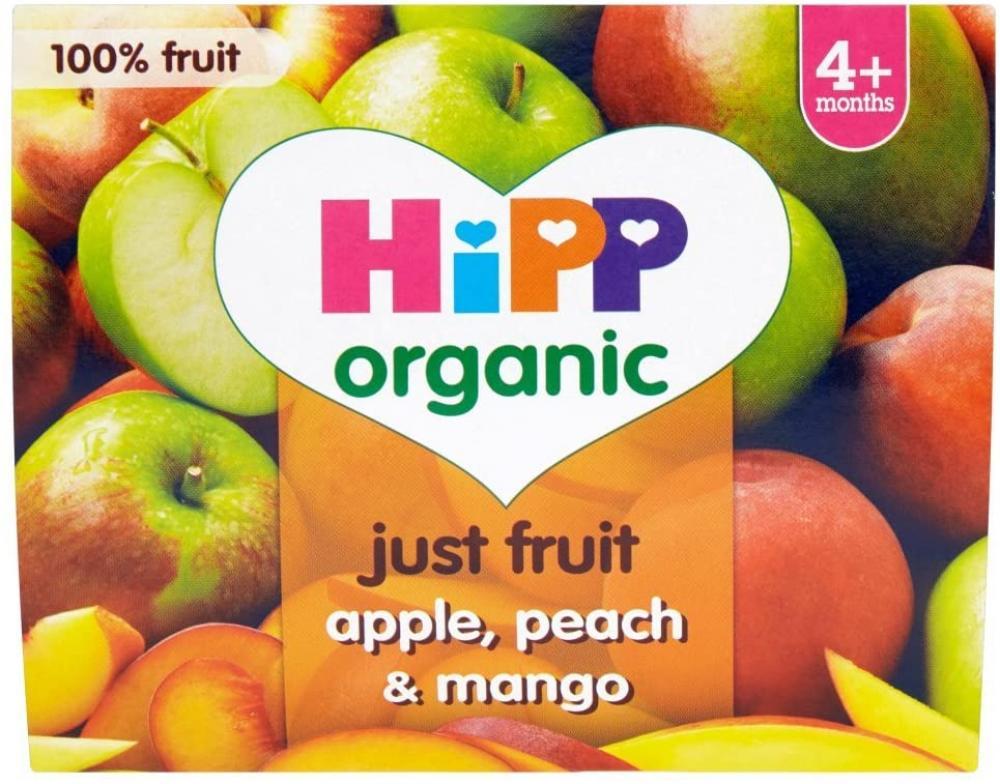 SALE  HiPP Organic Just Fruit Apple Peach and Mango 4 plus Months 4 x 100g
