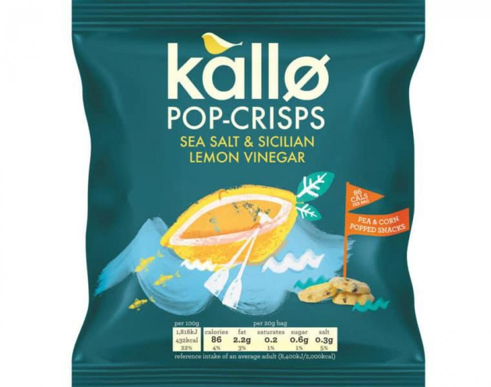 Kallo Sea Salt and Vinegar Pop Crisps 20g