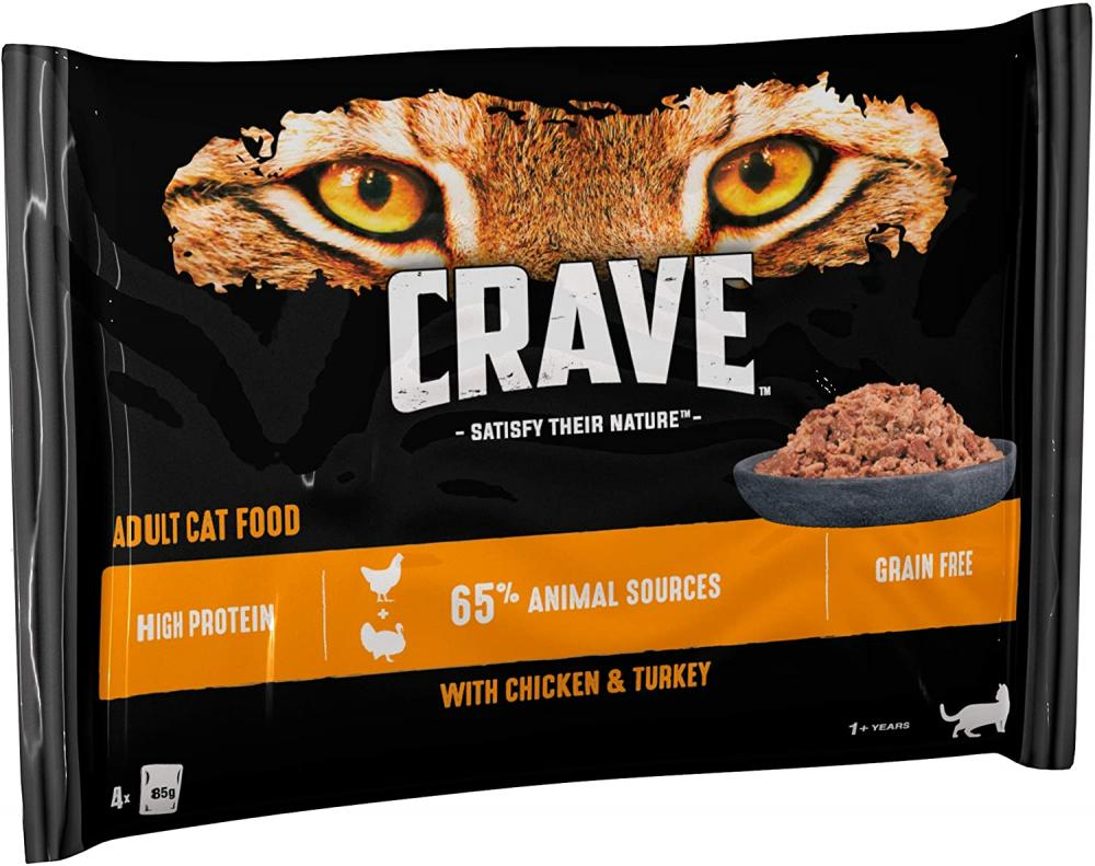 Crave Wet Cat Food with Chicken and Turkey in Loaf 4 x 85g