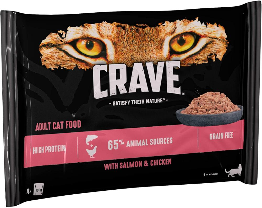 Crave Salmon And Chicken Cat Food Pate 4x85g