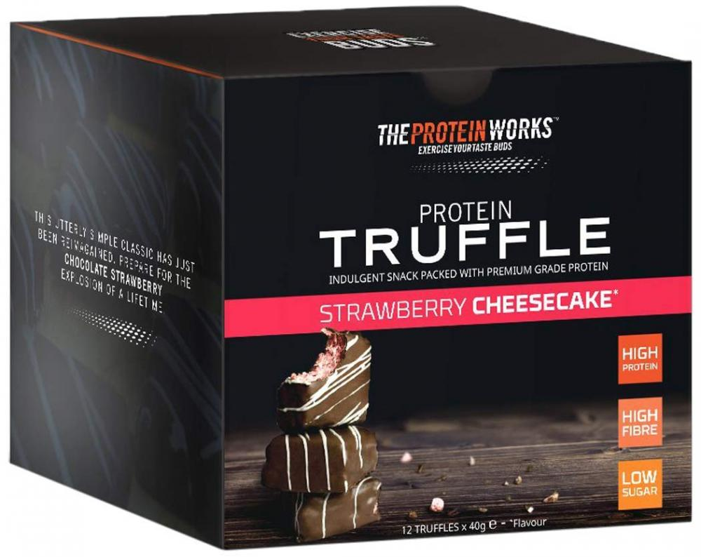 FLASH DEAL CASE PRICE  The Protein Works Protein Truffle Strawberry Cheesecake 480g