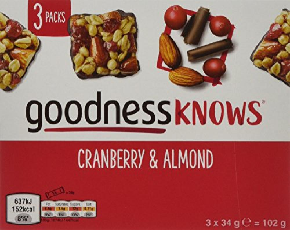 Goodness Knows Cranberry And Almond 3x34g