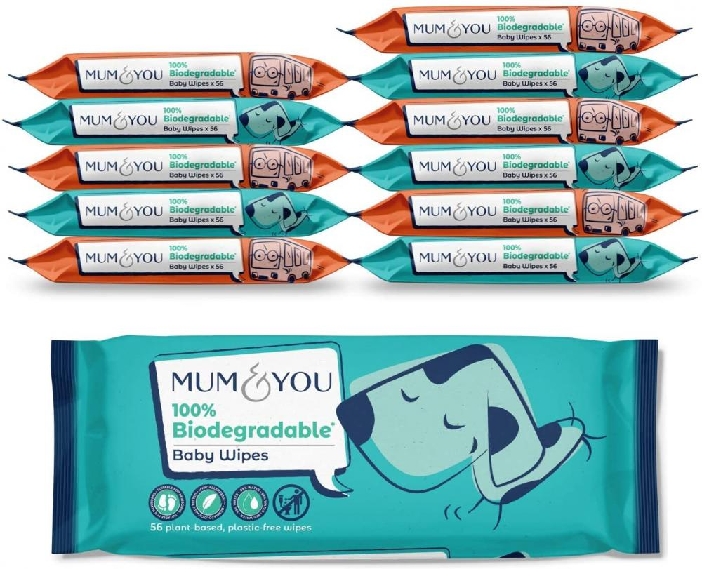 Mum And You Biodegradable Vegan Registered Plastic Free Baby Wipes 56 wipes