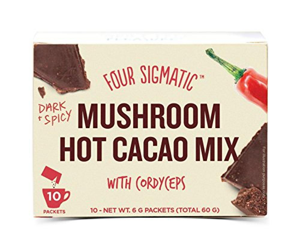 Four Sigma Foods mushroom hot cacao mix with ginger cordceps herbal tea 60g 60 g Damaged Box