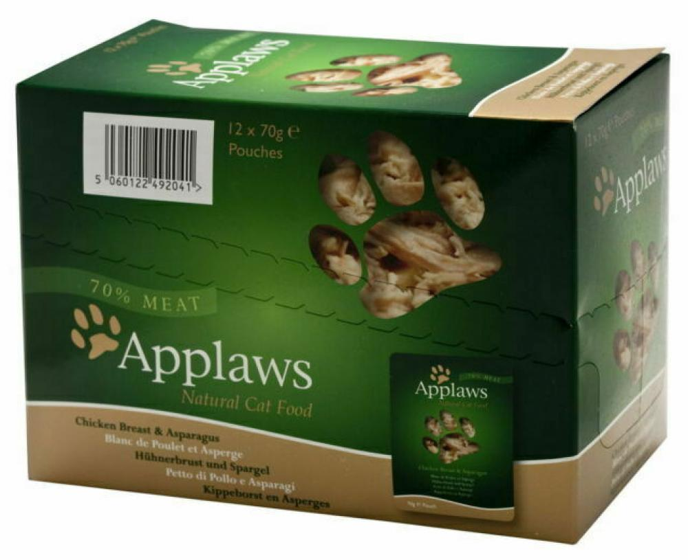 CASE PRICE  Applaws Natural Cat Food Chicken Breast With Asparagus 12 x 70g