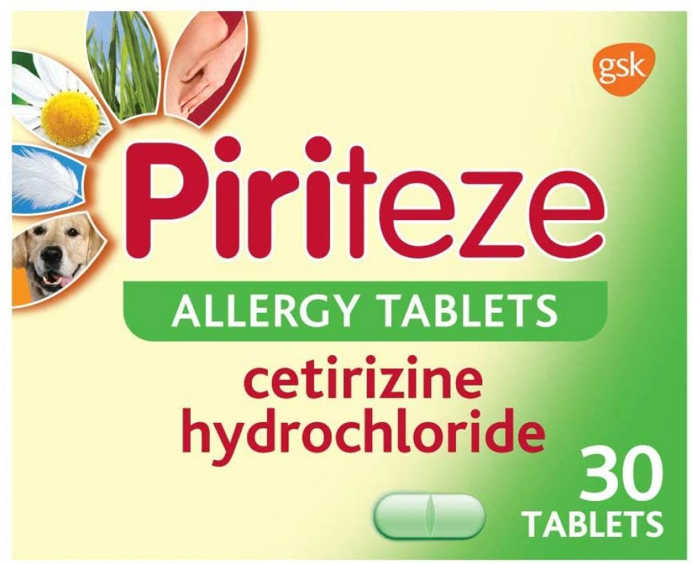 Piriteze Antihistamine Allergy Relief 30 tablets Damaged Box