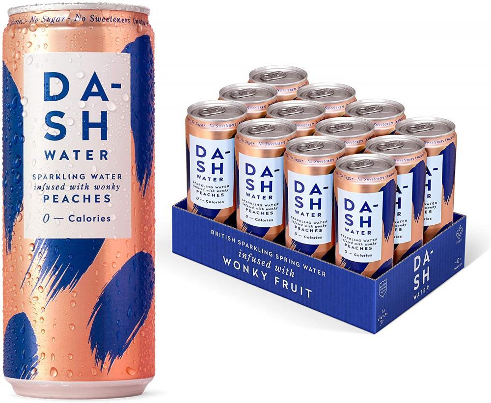 Dash Water Peach Flavoured Sparkling Spring Water 330ml